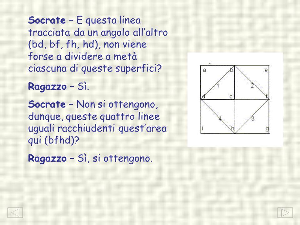 Socrate – E questa linea tracciata da un angolo allaltro (bd, bf, fh, hd), non viene forse a dividere a metà ciascuna di queste superfici? Ragazzo – S