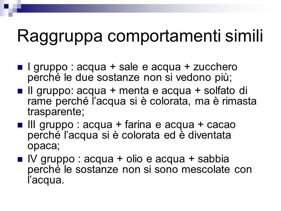 Raggruppa comportamenti simili I gruppo : acqua + sale e acqua + zucchero perché le due sostanze non si vedono più; II gruppo: acqua + menta e acqua +
