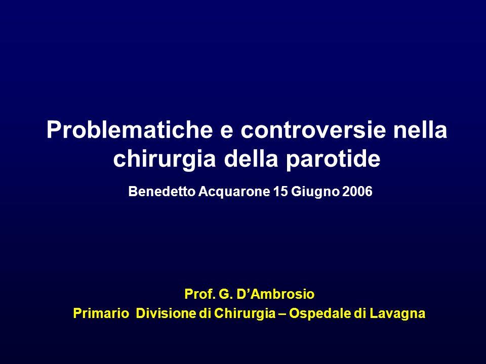 Problematiche e controversie nella chirurgia della parotide Benedetto Acquarone 15 Giugno 2006 Prof. G. DAmbrosio Primario Divisione di Chirurgia – Os