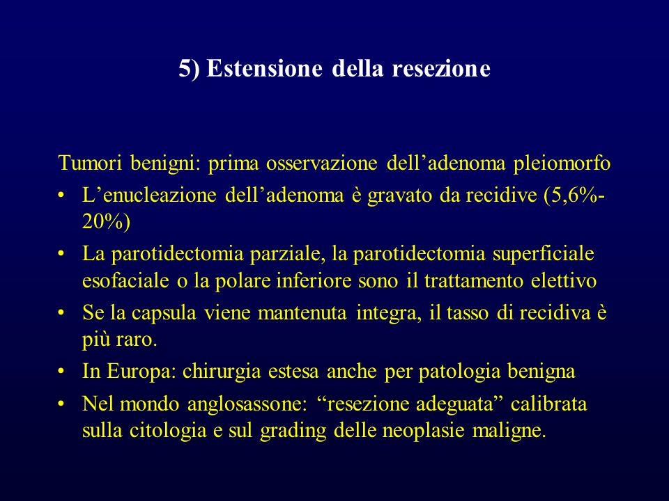 5) Estensione della resezione Tumori benigni: prima osservazione delladenoma pleiomorfo Lenucleazione delladenoma è gravato da recidive (5,6%- 20%) La parotidectomia parziale, la parotidectomia superficiale esofaciale o la polare inferiore sono il trattamento elettivo Se la capsula viene mantenuta integra, il tasso di recidiva è più raro.