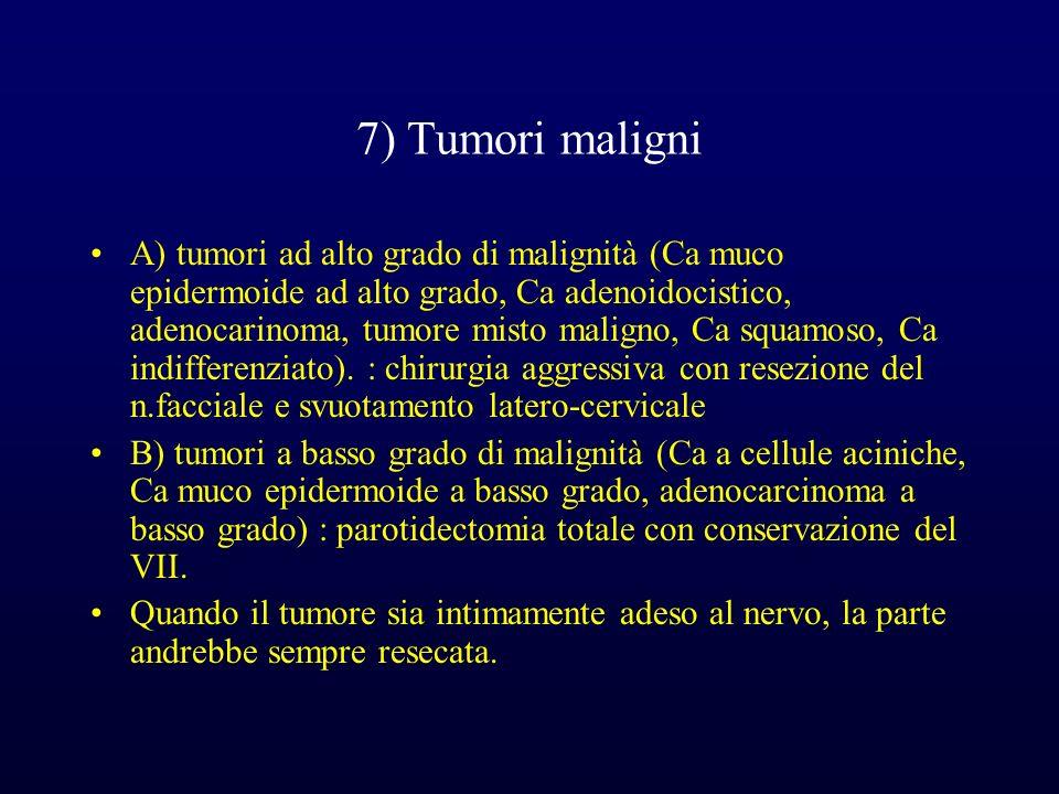7) Tumori maligni A) tumori ad alto grado di malignità (Ca muco epidermoide ad alto grado, Ca adenoidocistico, adenocarinoma, tumore misto maligno, Ca squamoso, Ca indifferenziato).