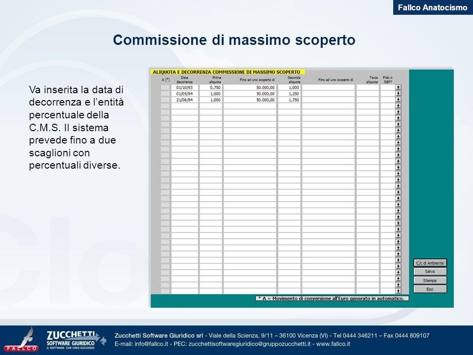 Commissione di massimo scoperto Fallco Anatocismo Va inserita la data di decorrenza e lentità percentuale della C.M.S. Il sistema prevede fino a due s