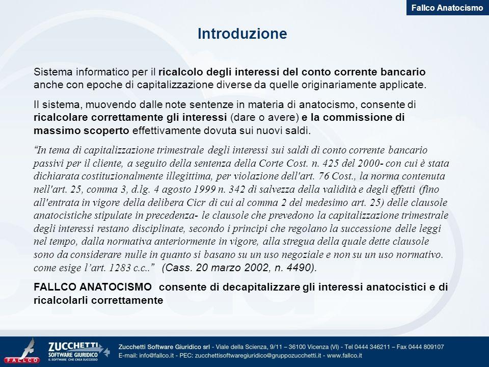 Introduzione Sistema informatico per il ricalcolo degli interessi del conto corrente bancario anche con epoche di capitalizzazione diverse da quelle o