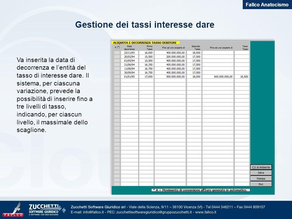 Gestione dei tassi interesse dare Fallco Anatocismo Va inserita la data di decorrenza e lentità del tasso di interesse dare. Il sistema, per ciascuna