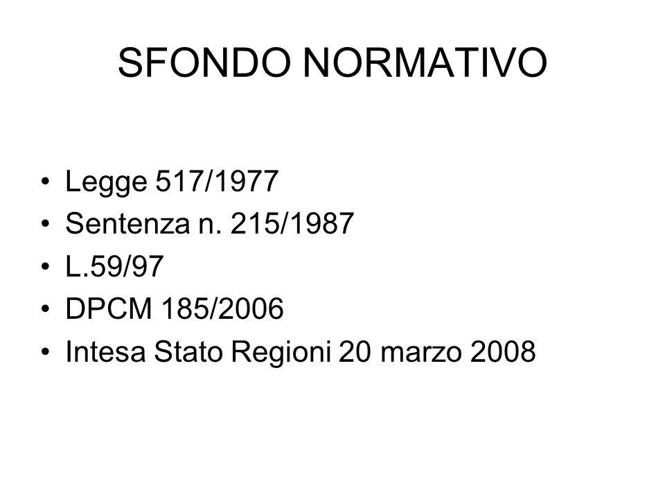 SFONDO NORMATIVO Legge 517/1977 Sentenza n.