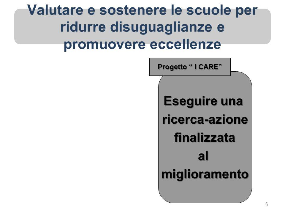 Valutare e sostenere le scuole per ridurre disuguaglianze e promuovere eccellenze Eseguire una ricerca-azionefinalizzataalmiglioramento Progetto I CARE 6