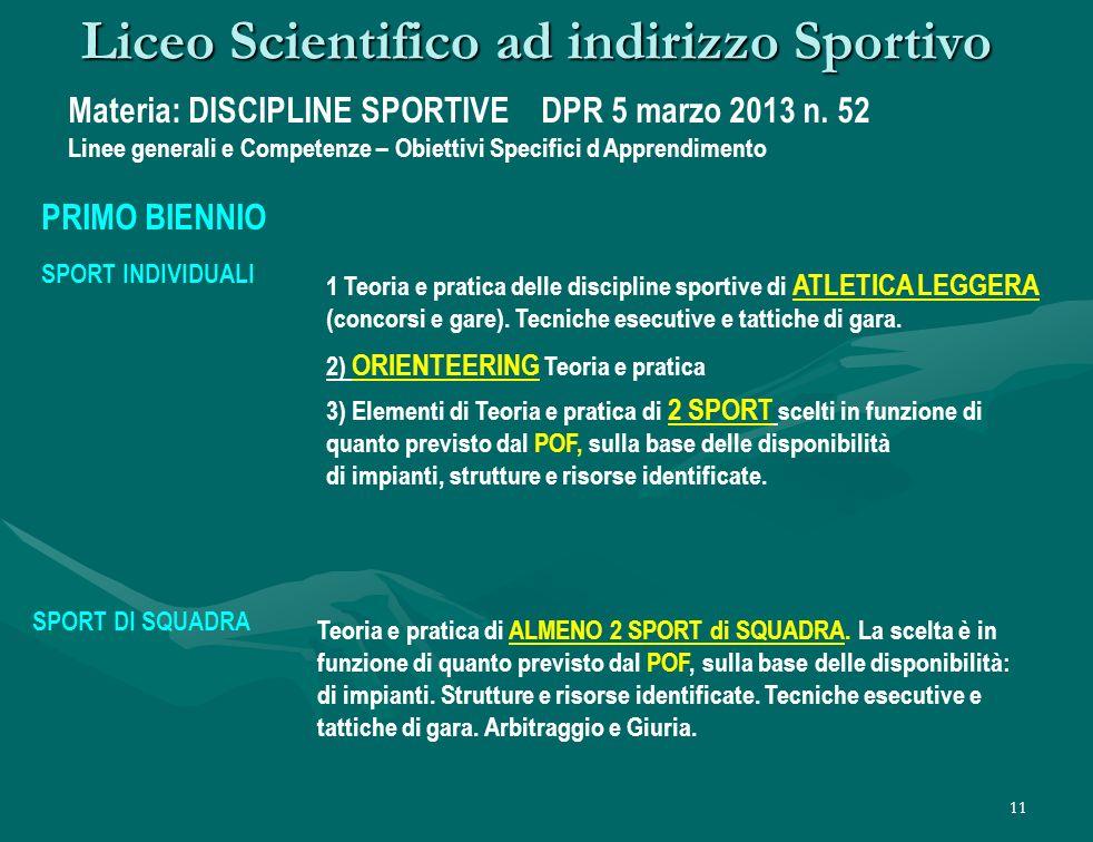 11 Liceo Scientifico ad indirizzo Sportivo Materia: DISCIPLINE SPORTIVE DPR 5 marzo 2013 n.