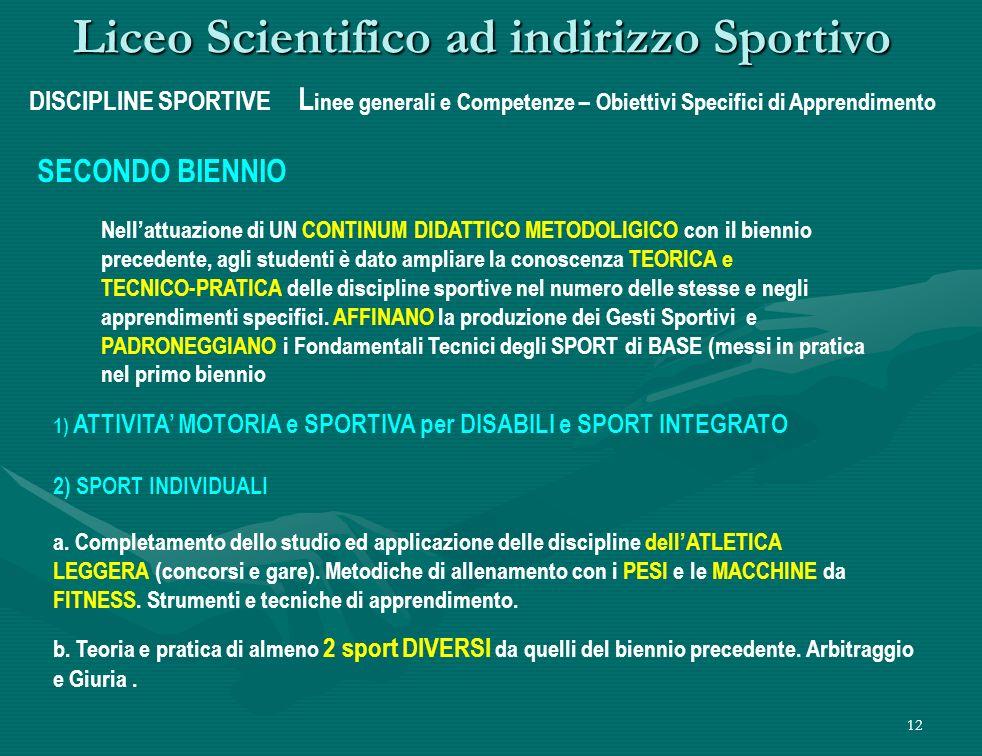 12 Liceo Scientifico ad indirizzo Sportivo DISCIPLINE SPORTIVE L inee generali e Competenze – Obiettivi Specifici di Apprendimento SECONDO BIENNIO 2) SPORT INDIVIDUALI a.