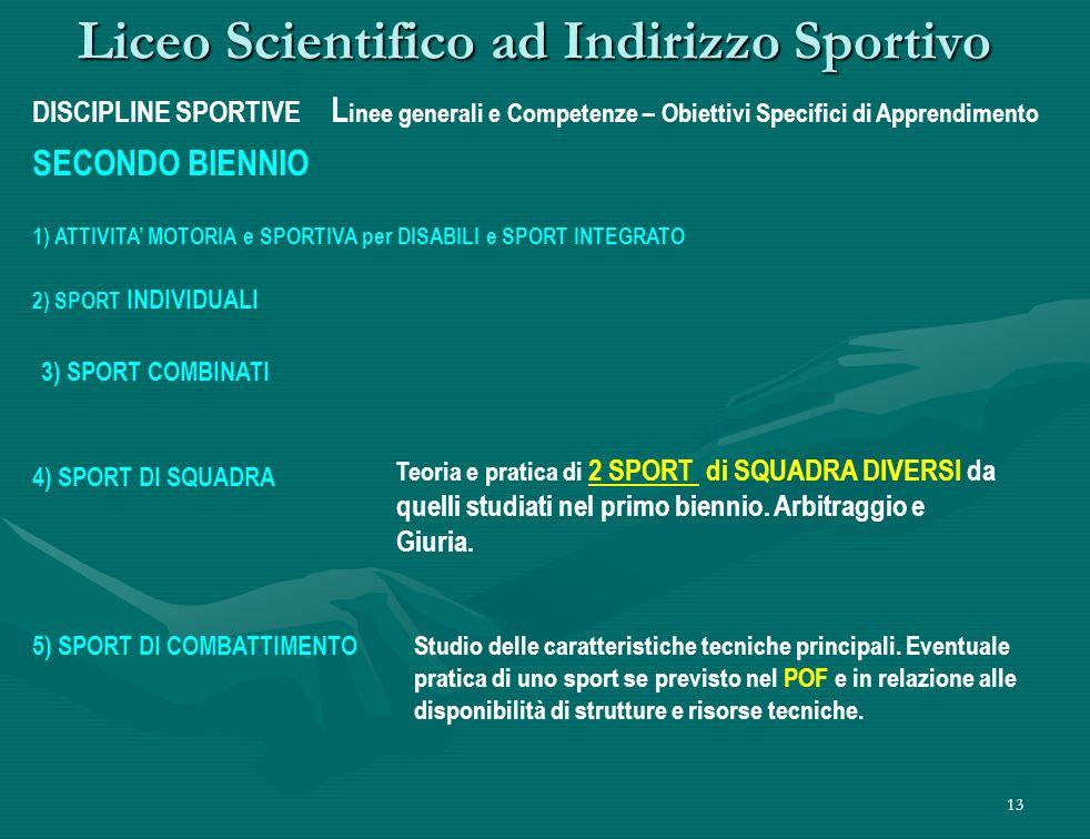 13 Liceo Scientifico ad Indirizzo Sportivo DISCIPLINE SPORTIVE L inee generali e Competenze – Obiettivi Specifici di Apprendimento SECONDO BIENNIO 2) SPORT INDIVIDUALI Studio delle caratteristiche tecniche principali.