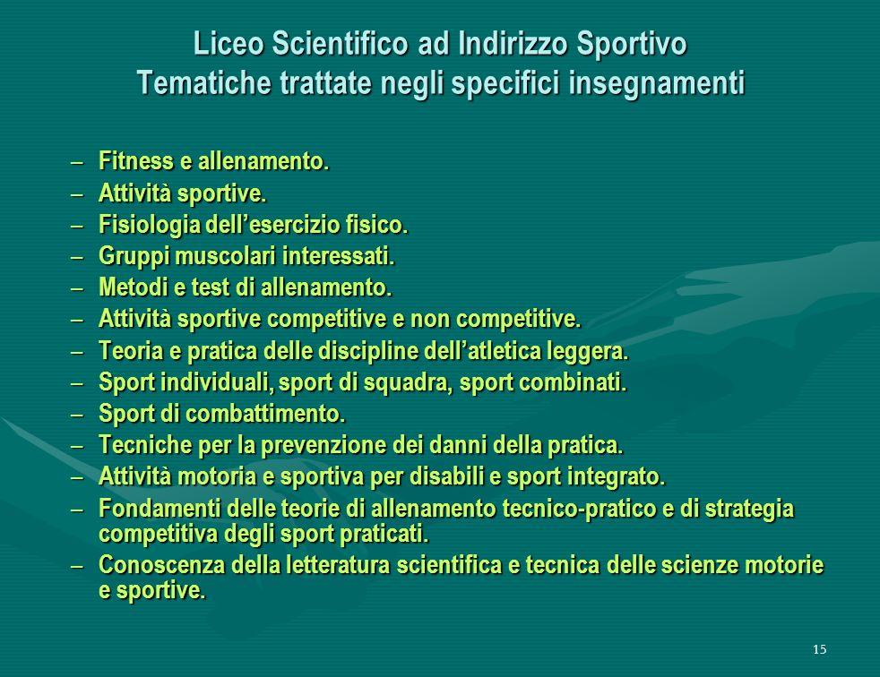 15 Liceo Scientifico ad Indirizzo Sportivo Tematiche trattate negli specifici insegnamenti – Fitness e allenamento.