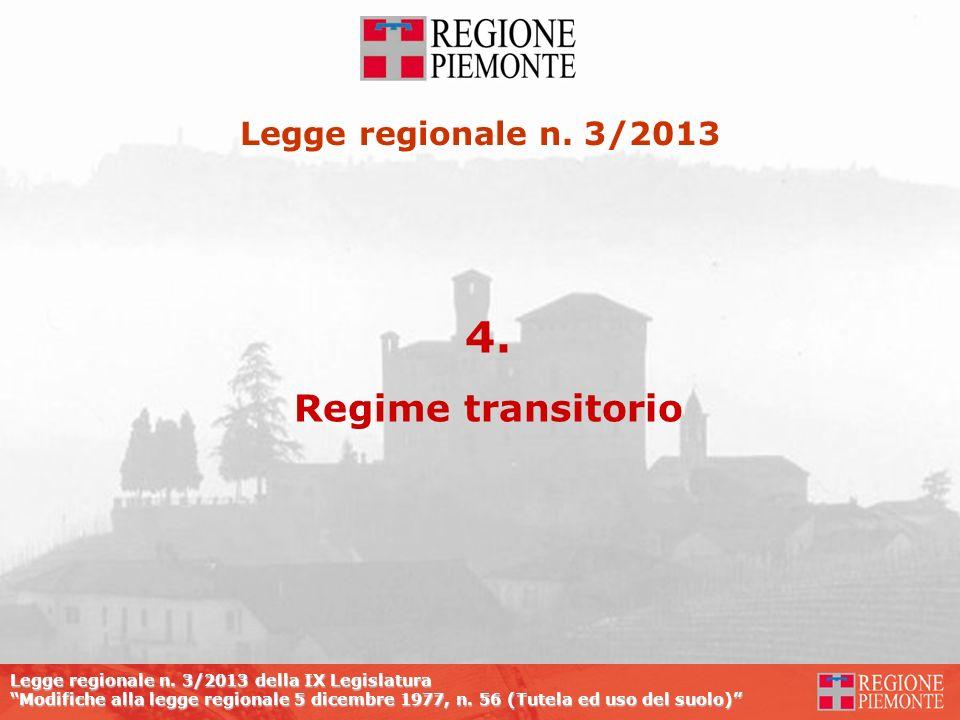 Legge regionale n. 3/2013 della IX Legislatura Modifiche alla legge regionale 5 dicembre 1977, n. 56 (Tutela ed uso del suolo) 4. Regime transitorio L