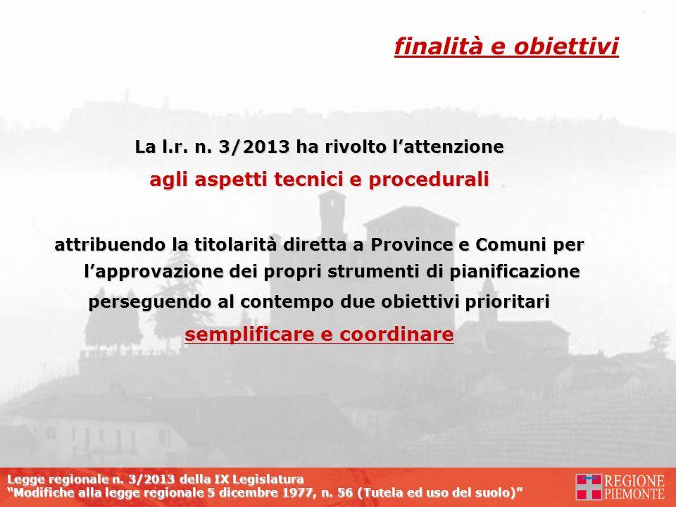 Legge regionale n. 3/2013 della IX Legislatura Modifiche alla legge regionale 5 dicembre 1977, n. 56 (Tutela ed uso del suolo) La l.r. n. 3/2013 ha ri