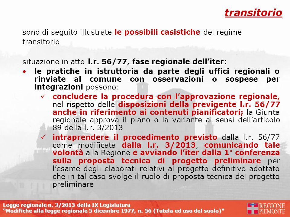 Legge regionale n. 3/2013 della IX Legislatura Modifiche alla legge regionale 5 dicembre 1977, n. 56 (Tutela ed uso del suolo) sono di seguito illustr