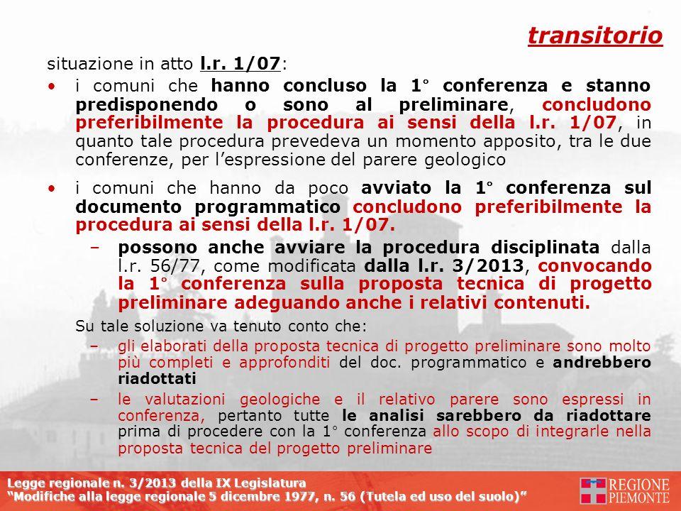 Legge regionale n. 3/2013 della IX Legislatura Modifiche alla legge regionale 5 dicembre 1977, n. 56 (Tutela ed uso del suolo) situazione in atto l.r.