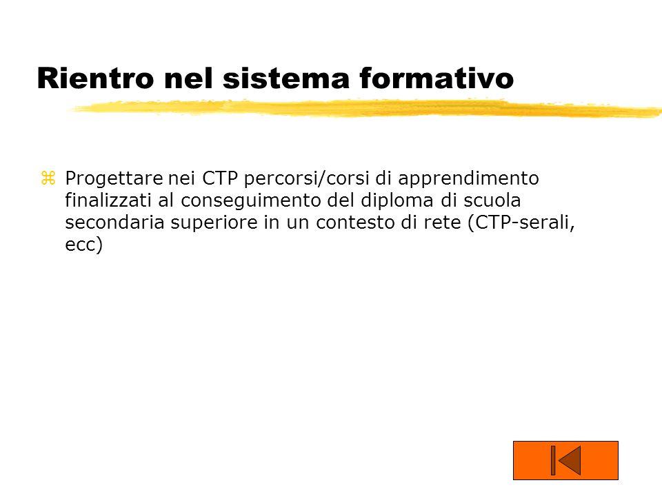 Rientro nel sistema formativo zProgettare nei CTP percorsi/corsi di apprendimento finalizzati al conseguimento del diploma di scuola secondaria superi