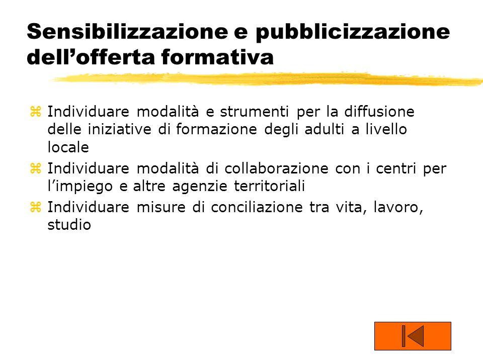 Sensibilizzazione e pubblicizzazione dellofferta formativa zIndividuare modalità e strumenti per la diffusione delle iniziative di formazione degli ad