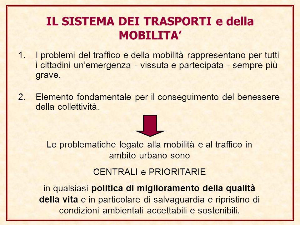 IL SISTEMA DEI TRASPORTI e della MOBILITA 1.I problemi del traffico e della mobilità rappresentano per tutti i cittadini unemergenza - vissuta e partecipata - sempre più grave.
