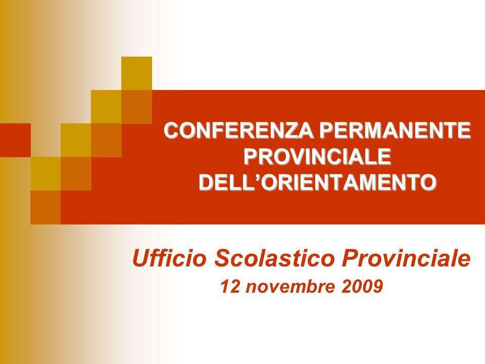 CONFERENZA PERMANENTE PROVINCIALE DELLORIENTAMENTO Ufficio Scolastico Provinciale 12 novembre 2009