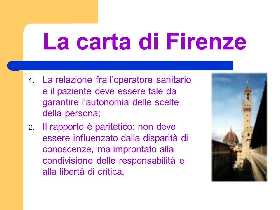 La carta di Firenze 1. La relazione fra loperatore sanitario e il paziente deve essere tale da garantire lautonomia delle scelte della persona; 2. Il