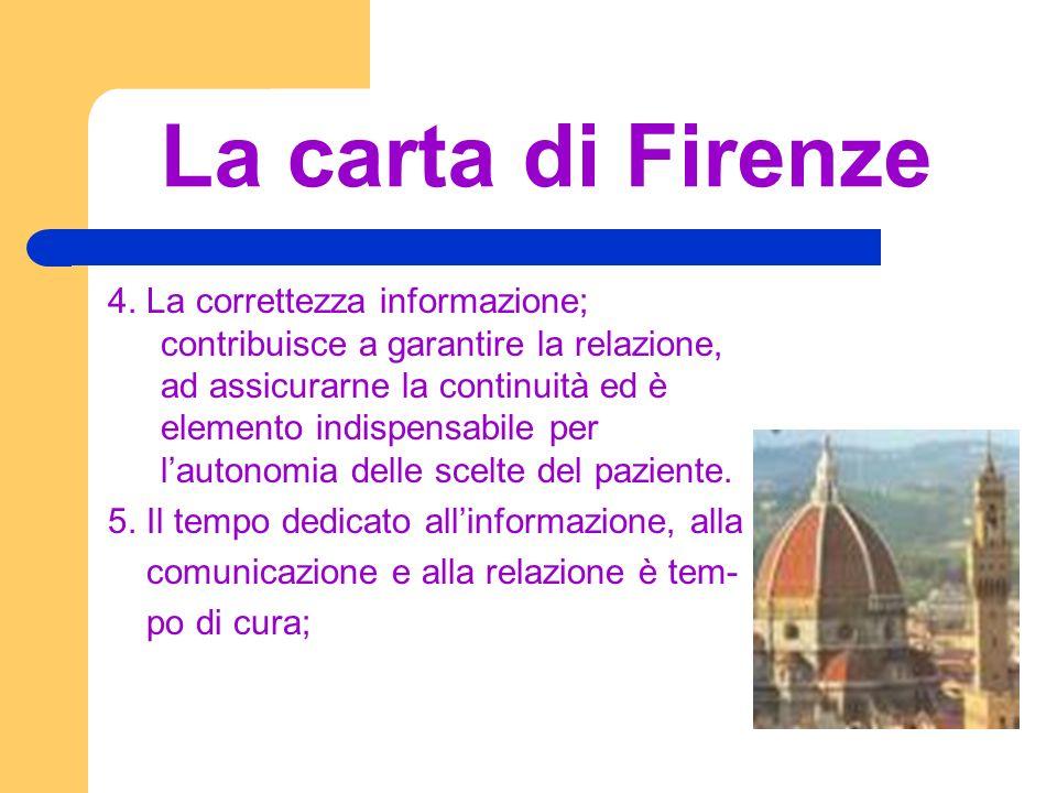 La carta di Firenze 4. La correttezza informazione; contribuisce a garantire la relazione, ad assicurarne la continuità ed è elemento indispensabile p