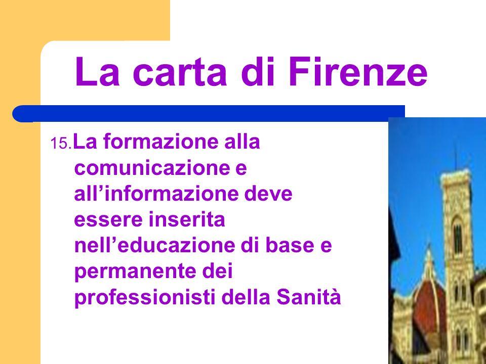 La carta di Firenze 15. La formazione alla comunicazione e allinformazione deve essere inserita nelleducazione di base e permanente dei professionisti