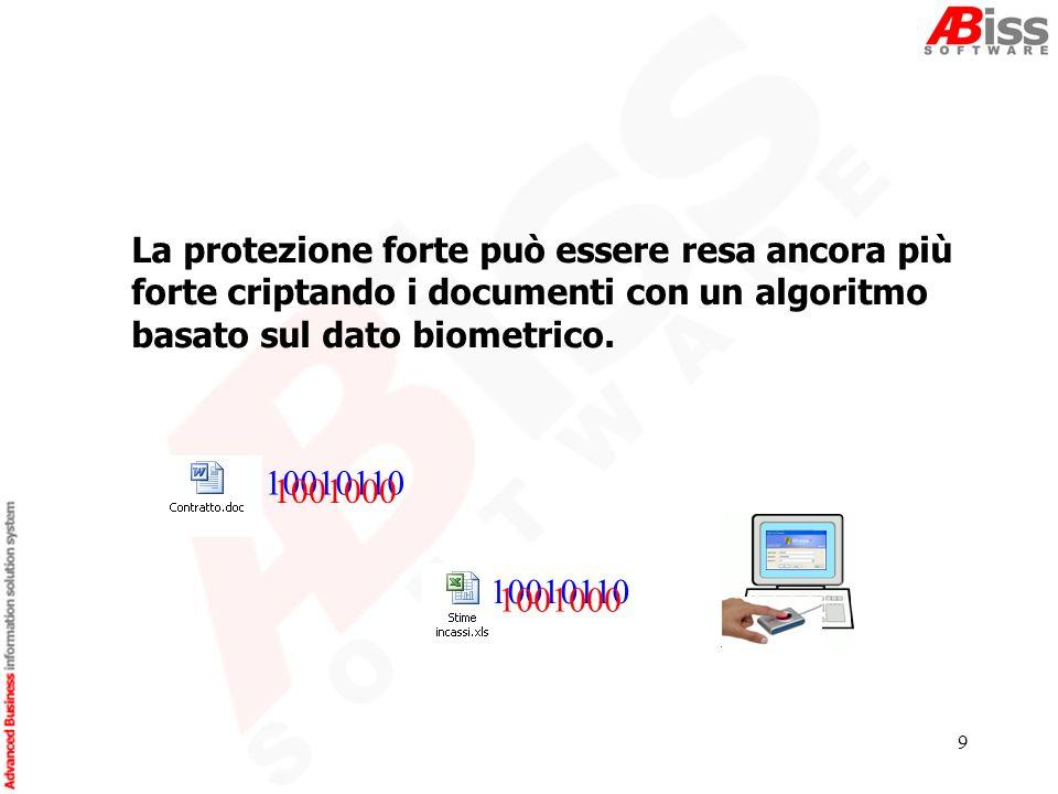 9 La protezione forte può essere resa ancora più forte criptando i documenti con un algoritmo basato sul dato biometrico.