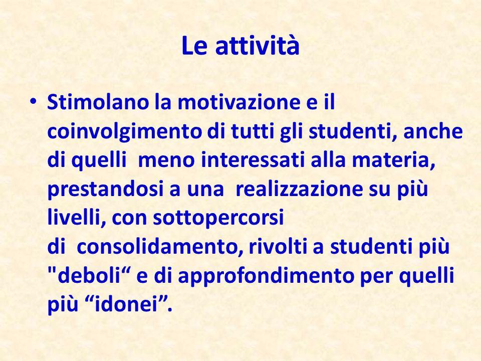 Stimolano la motivazione e il coinvolgimento di tutti gli studenti, anche di quelli meno interessati alla materia, prestandosi a una realizzazione su