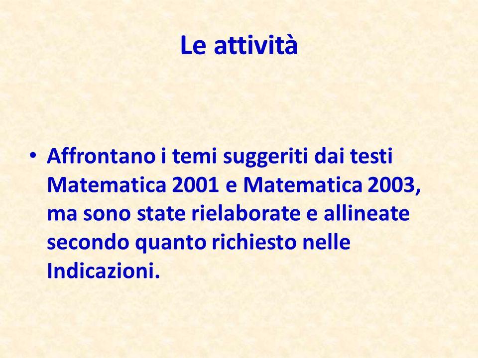 Affrontano i temi suggeriti dai testi Matematica 2001 e Matematica 2003, ma sono state rielaborate e allineate secondo quanto richiesto nelle Indicazi