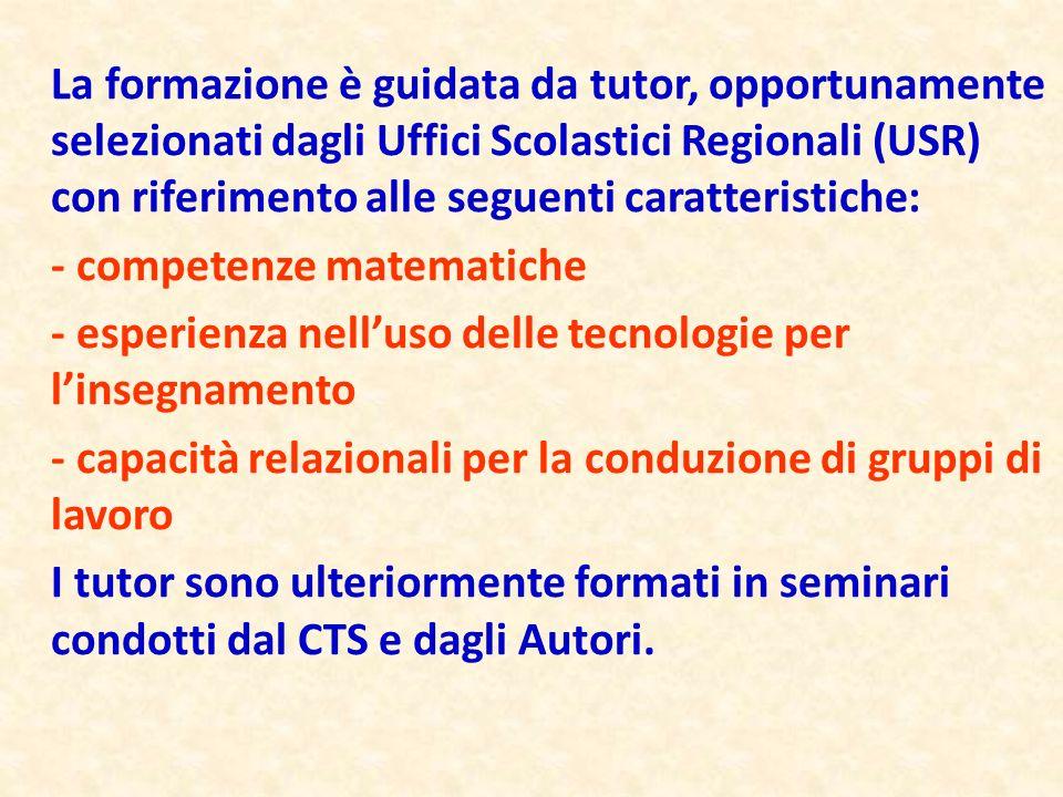 La formazione è guidata da tutor, opportunamente selezionati dagli Uffici Scolastici Regionali (USR) con riferimento alle seguenti caratteristiche: -