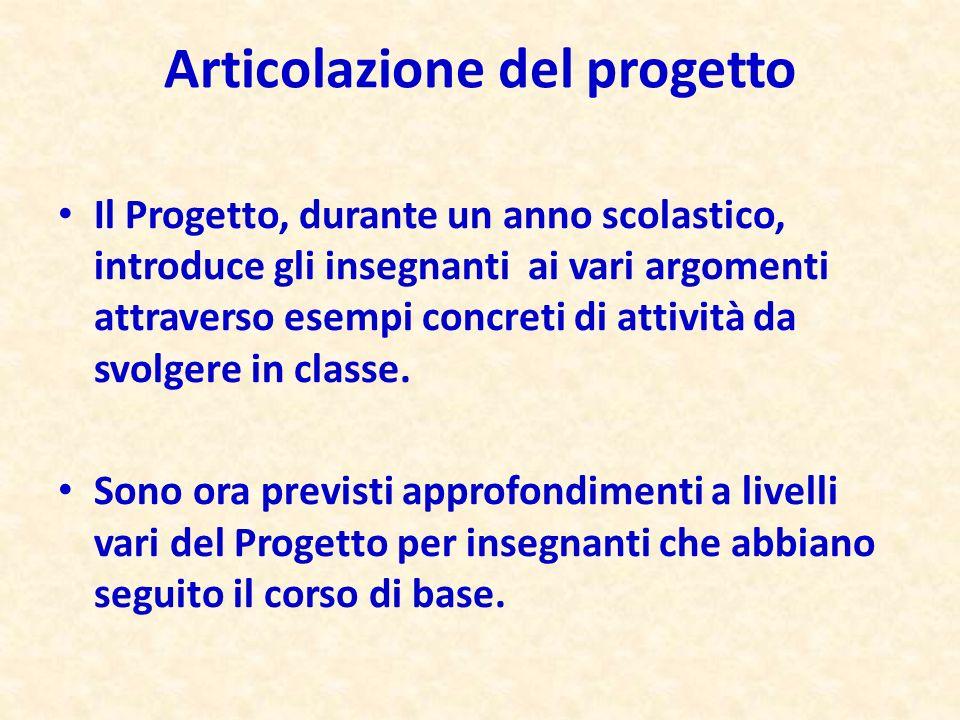 Articolazione del progetto Il Progetto, durante un anno scolastico, introduce gli insegnanti ai vari argomenti attraverso esempi concreti di attività