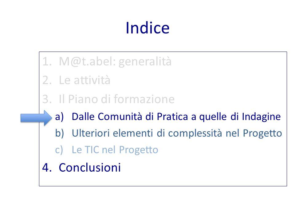Indice 1.M@t.abel: generalità 2.Le attività 3.Il Piano di formazione a)Dalle Comunità di Pratica a quelle di Indagine b)Ulteriori elementi di compless