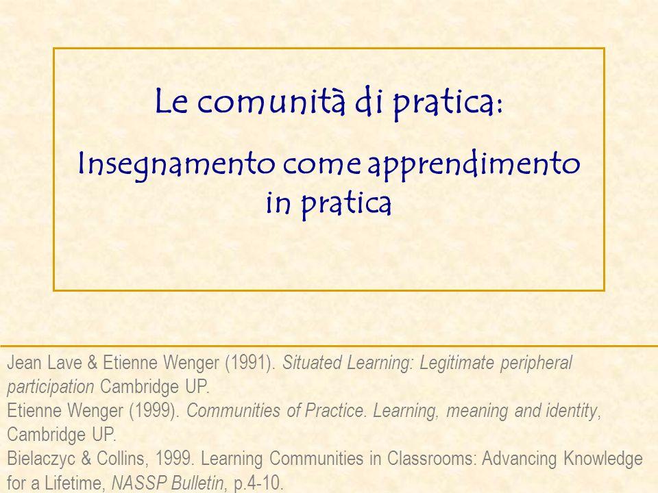 Le comunità di pratica: Insegnamento come apprendimento in pratica Jean Lave & Etienne Wenger (1991). Situated Learning: Legitimate peripheral partici