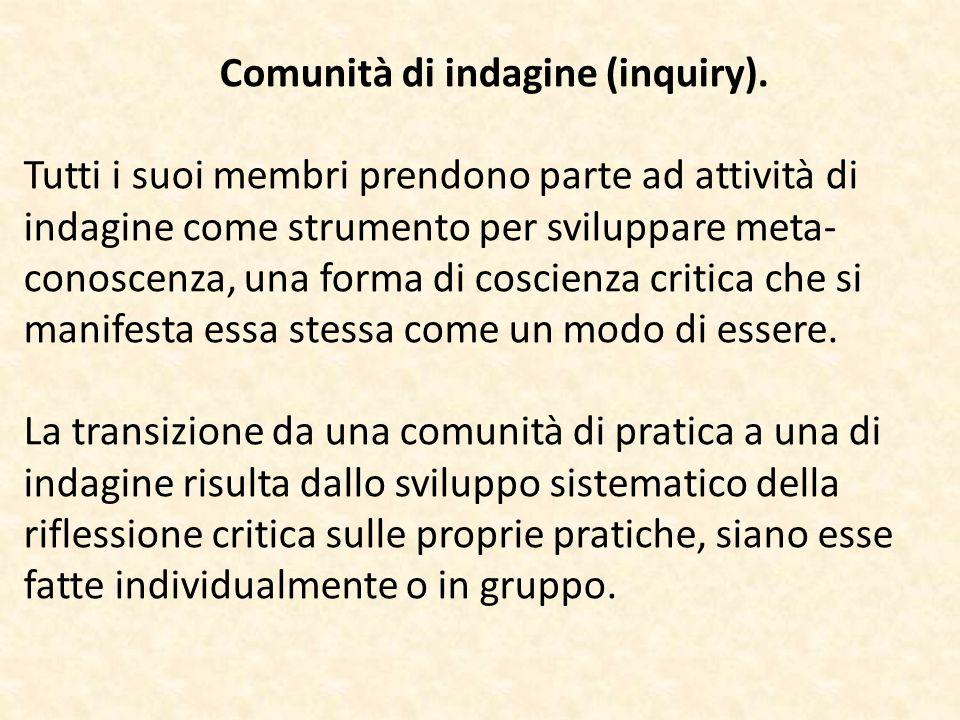 Comunità di indagine (inquiry). Tutti i suoi membri prendono parte ad attività di indagine come strumento per sviluppare meta- conoscenza, una forma d