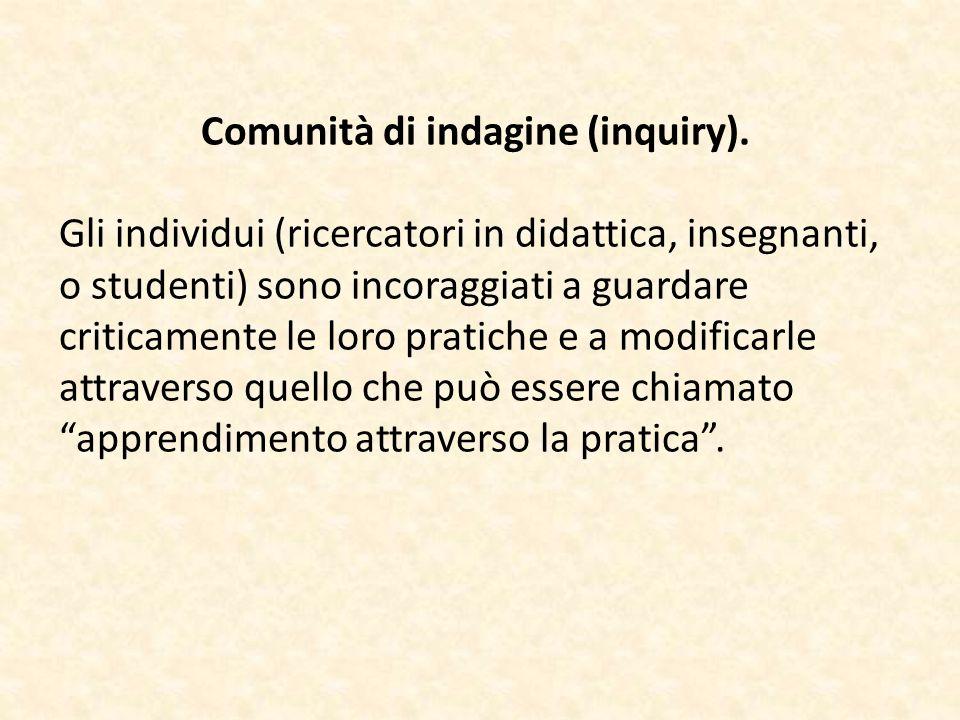Comunità di indagine (inquiry). Gli individui (ricercatori in didattica, insegnanti, o studenti) sono incoraggiati a guardare criticamente le loro pra