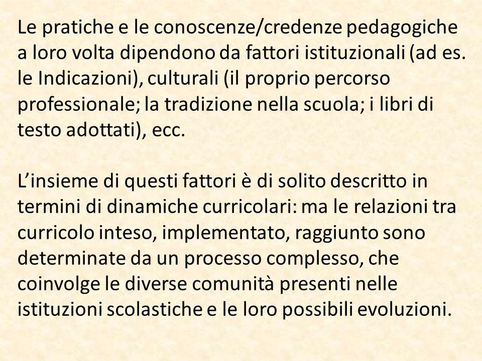 Le pratiche e le conoscenze/credenze pedagogiche a loro volta dipendono da fattori istituzionali (ad es. le Indicazioni), culturali (il proprio percor