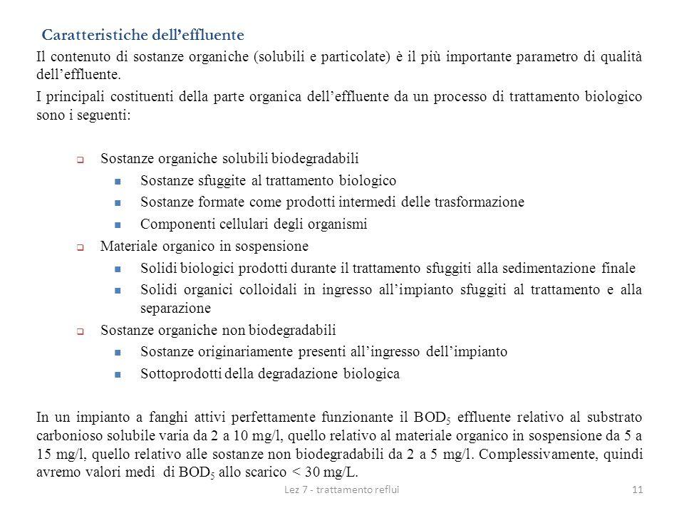 Lez 7 - trattamento reflui11 Caratteristiche delleffluente Il contenuto di sostanze organiche (solubili e particolate) è il più importante parametro d