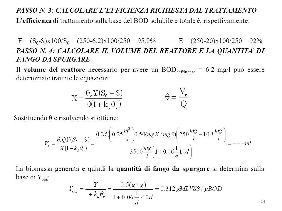 14 PASSO N. 3: CALCOLARE LEFFICIENZA RICHIESTA DAL TRATTAMENTO Lefficienza di trattamento sulla base del BOD solubile e totale è, rispettivamente: E =