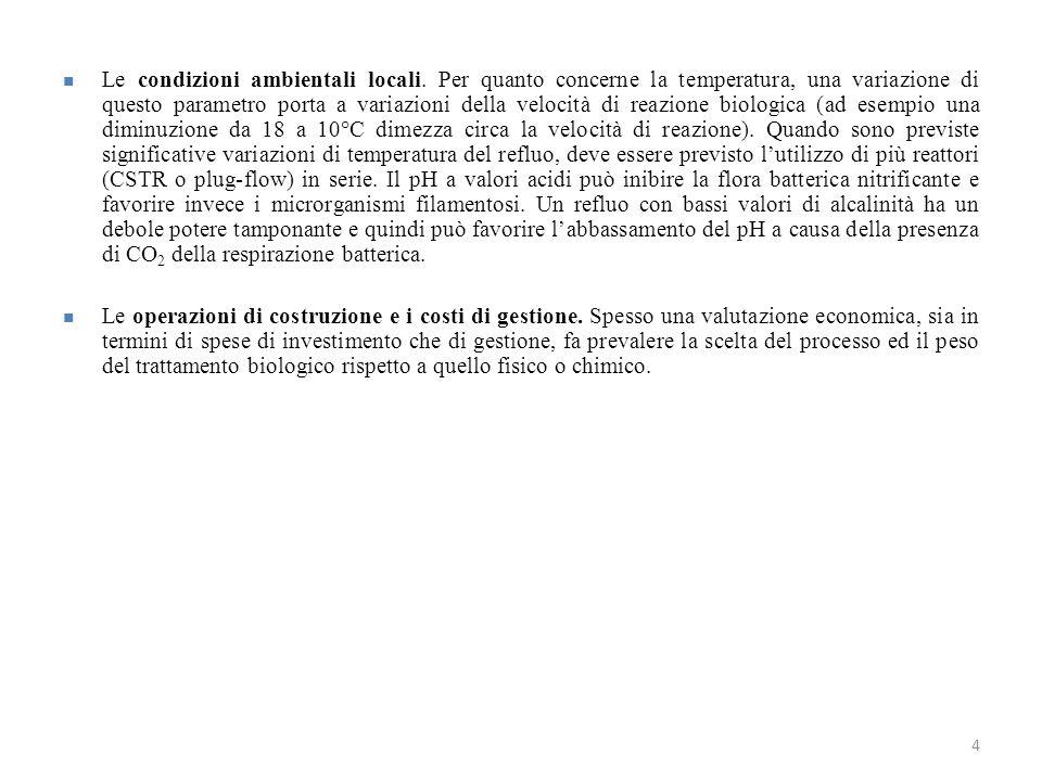 4 Le condizioni ambientali locali. Per quanto concerne la temperatura, una variazione di questo parametro porta a variazioni della velocità di reazion