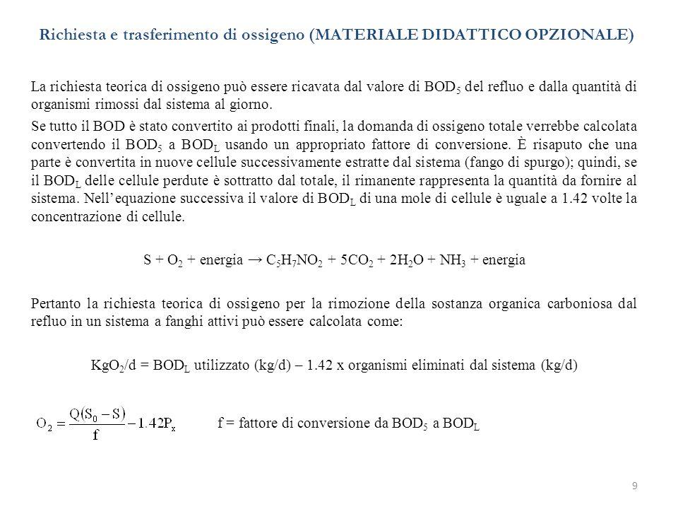 9 Richiesta e trasferimento di ossigeno (MATERIALE DIDATTICO OPZIONALE) La richiesta teorica di ossigeno può essere ricavata dal valore di BOD 5 del r