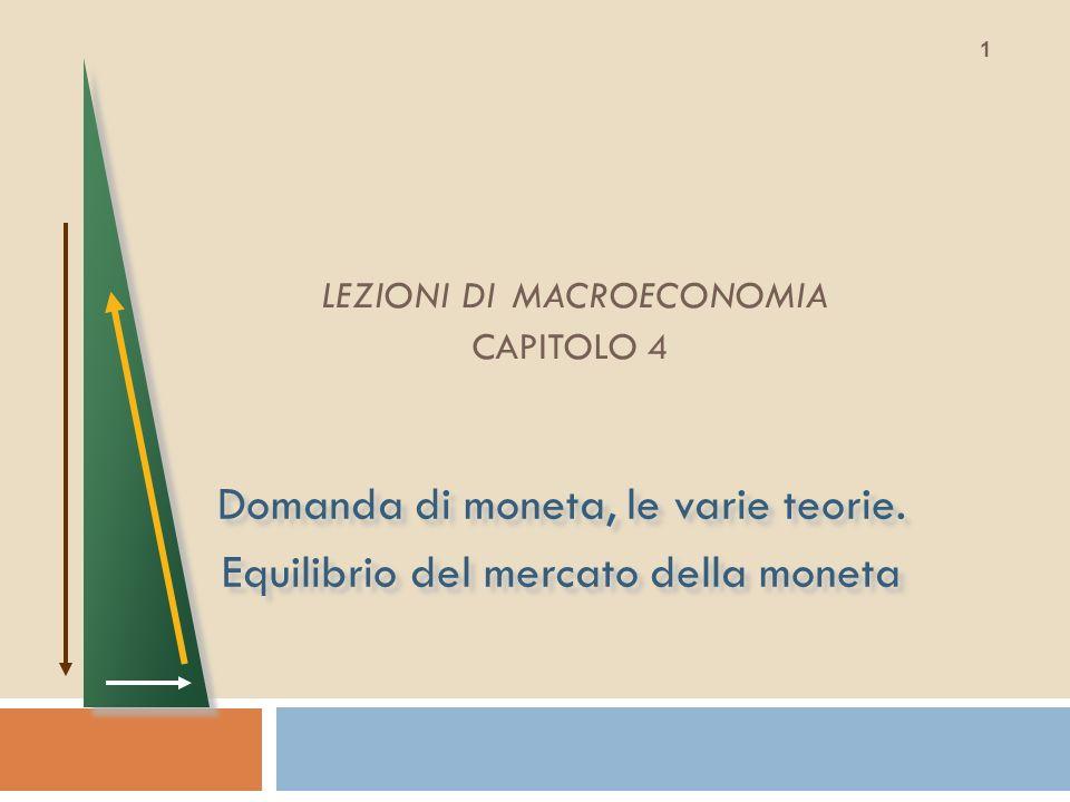 LEZIONI DI MACROECONOMIA CAPITOLO 4 Domanda di moneta, le varie teorie. Equilibrio del mercato della moneta Domanda di moneta, le varie teorie. Equili