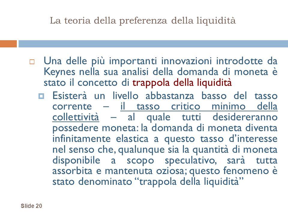 Slide 20 La teoria della preferenza della liquidità Una delle più importanti innovazioni introdotte da Keynes nella sua analisi della domanda di monet