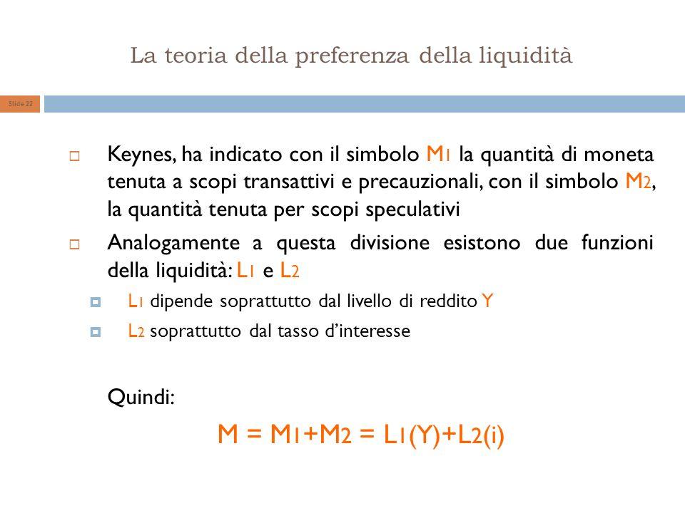 La teoria della preferenza della liquidità Slide 22 Keynes, ha indicato con il simbolo M 1 la quantità di moneta tenuta a scopi transattivi e precauzi