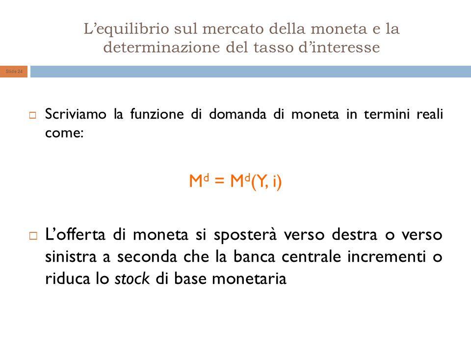 Lequilibrio sul mercato della moneta e la determinazione del tasso dinteresse Slide 24 Scriviamo la funzione di domanda di moneta in termini reali com