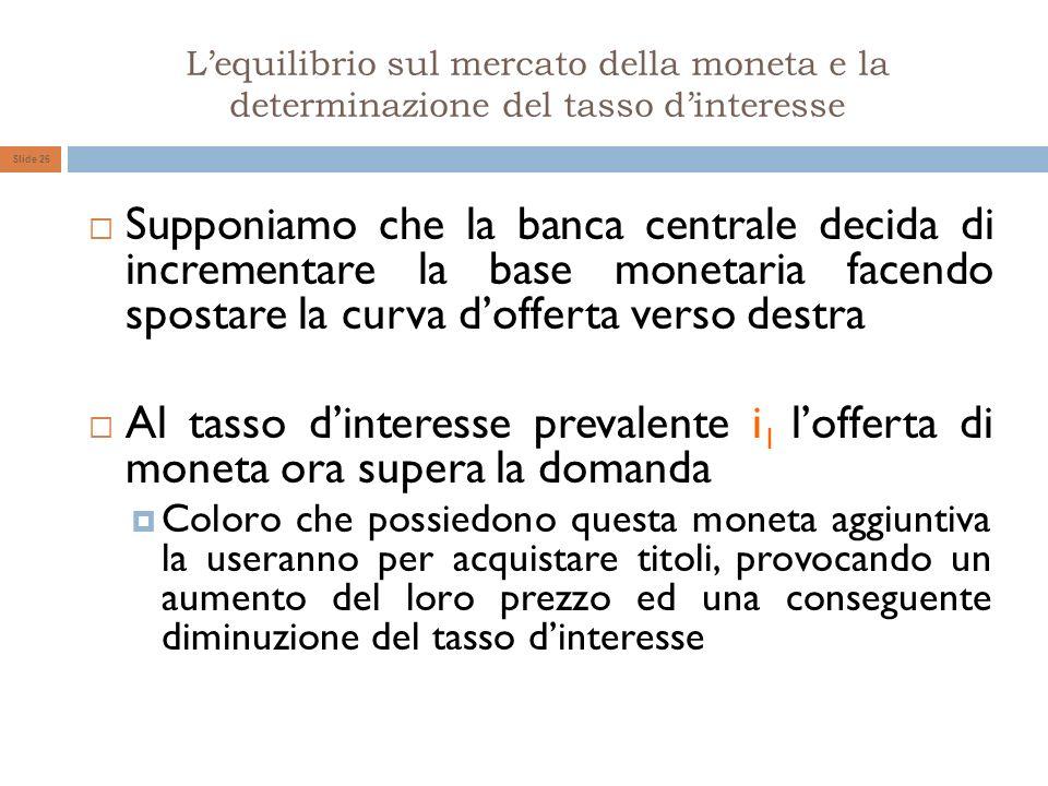 Lequilibrio sul mercato della moneta e la determinazione del tasso dinteresse Slide 26 Supponiamo che la banca centrale decida di incrementare la base