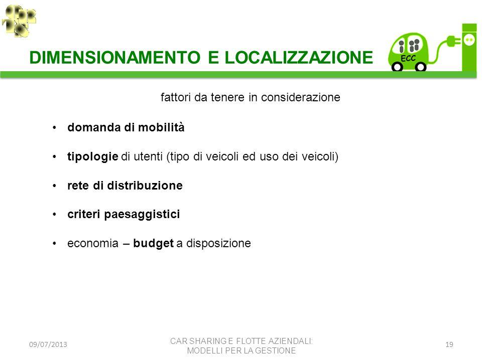 09/07/201319 fattori da tenere in considerazione domanda di mobilità tipologie di utenti (tipo di veicoli ed uso dei veicoli) rete di distribuzione cr