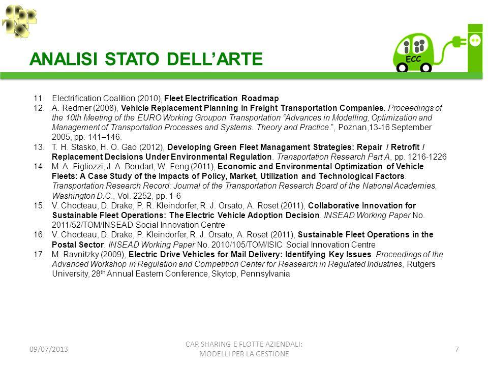 09/07/20137 ANALISI STATO DELLARTE CAR SHARING E FLOTTE AZIENDALI: MODELLI PER LA GESTIONE 11.Electrification Coalition (2010), Fleet Electrification