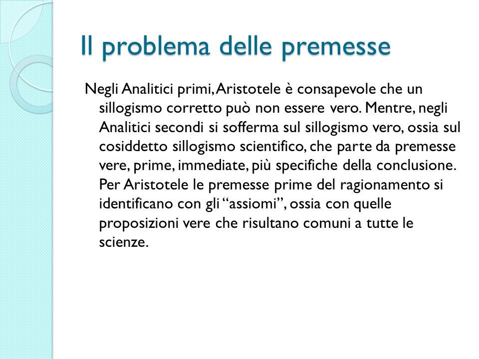 Il problema delle premesse Negli Analitici primi, Aristotele è consapevole che un sillogismo corretto può non essere vero. Mentre, negli Analitici sec