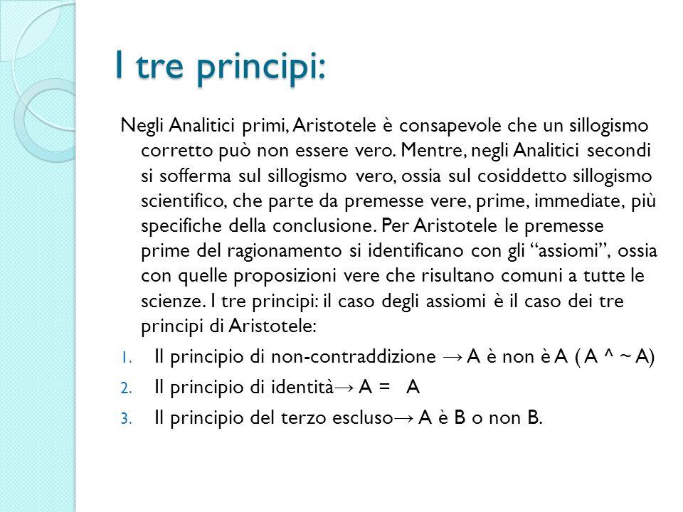 I tre principi: Negli Analitici primi, Aristotele è consapevole che un sillogismo corretto può non essere vero. Mentre, negli Analitici secondi si sof