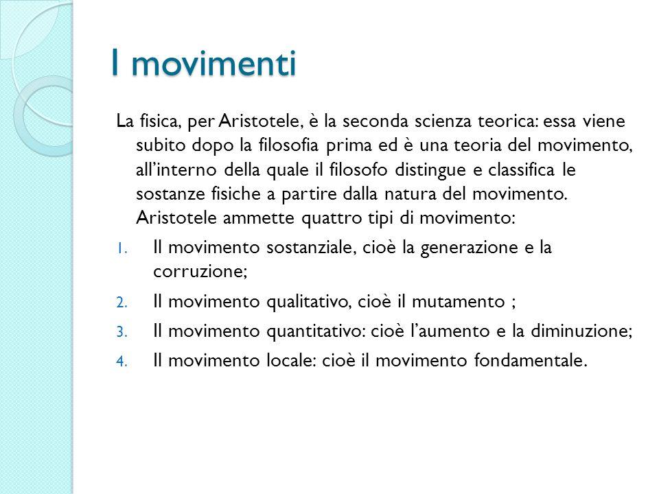 I movimenti La fisica, per Aristotele, è la seconda scienza teorica: essa viene subito dopo la filosofia prima ed è una teoria del movimento, allinter