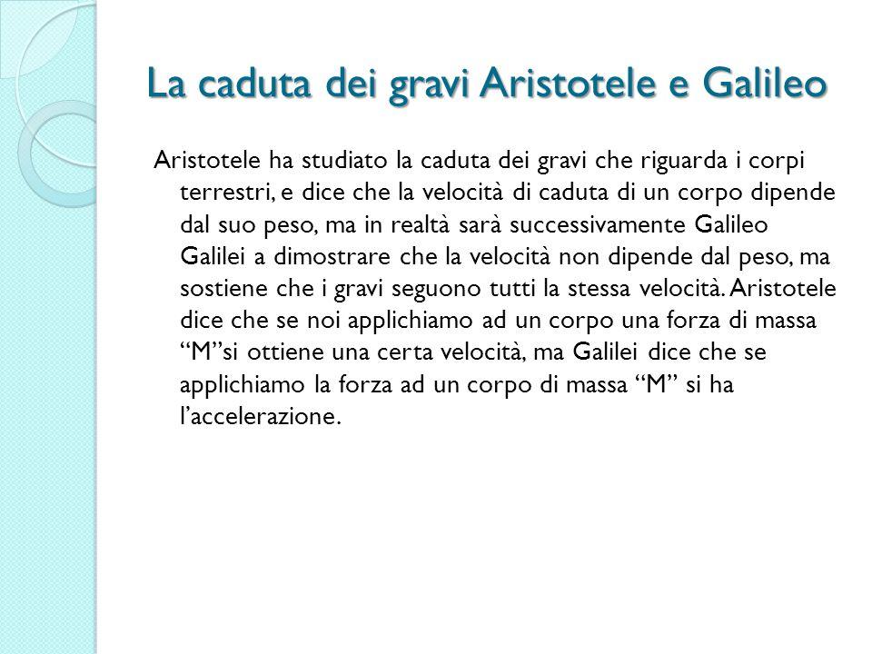 La caduta dei gravi Aristotele e Galileo Aristotele ha studiato la caduta dei gravi che riguarda i corpi terrestri, e dice che la velocità di caduta d